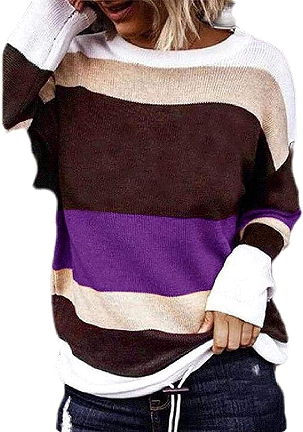 67% OFF of fixed price Womens Pullover Knitwear Long Sleeve Stripe Color Block Import Knit Top