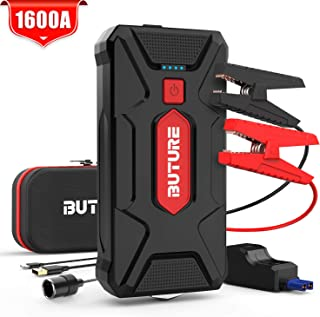 BUTURE Car Jump Starter, 1600A Peak 20000mAh Portable Car Battery Starter (up to 8.0L Gas/7.0L Diesel Engines) Auto Battery Booster Pack with Smart Safety Jumper Cable, QC3.0 USB Outputs