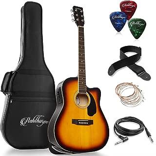 Ashthorpe Full-Size Dreadnought Cutaway Acoustic-Electric Guitar Bundle - Premium Tonewoods - Sunburst