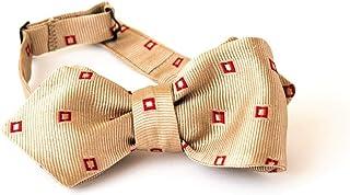 Papillon da Annodare per Uomo e Ragazzo in Seta nel colore Beige Cammello con Disegno Rosso, Taglia e Cinturino Regolabile...