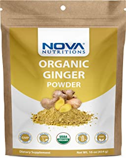 Nova Nutritions Certified Organic Ginger Root Powder 16 OZ (454 gm) - Also Called Zingiber officinale (Root)