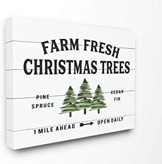 The Stupell Home Décor Collection White Planked Look Holiday Farm Fresh Christmas Trees Spruce and Fir Stretched Canvas Wall Art, 16 x 20, Multi-Color