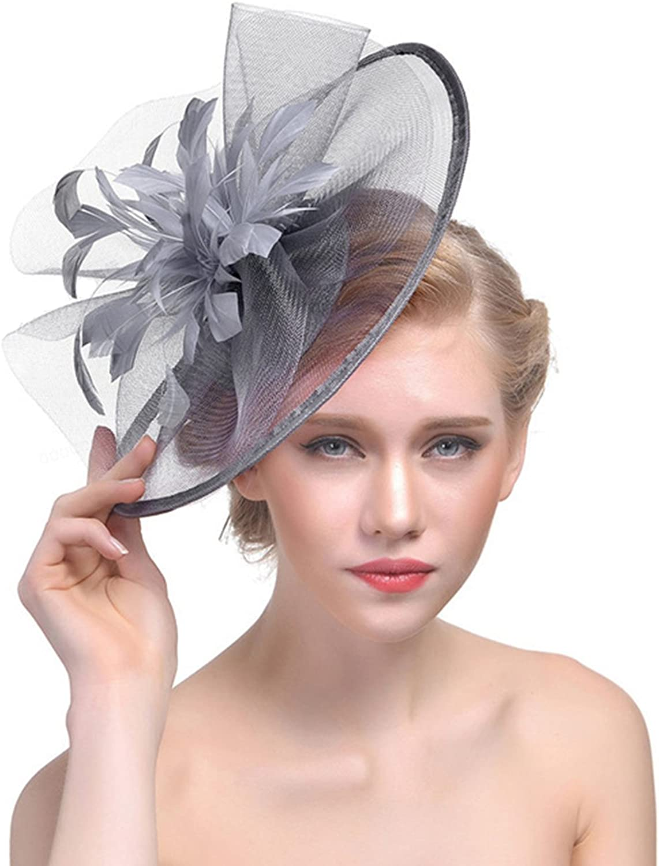 PURFUN British Style Feather Veil Fascinator Prom Wedding Derby Hat with Clip Hairband