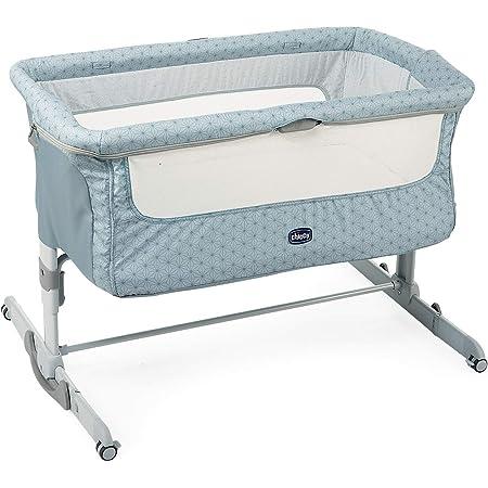 Chicco Next2Me Dream Cuna de Colecho para Bebé con Colchón, Función de Mecedora, Lateral Abatible, Altura Ajustable, Panel de Malla, Ruedas y Bolsa de Viaje 0-6 meses, 9 kg - Azul (Sage)