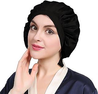 74528ede21a LilySilk Black Silk Bonnet Cap for Women Traceless Half Black Elastic 100  Pure Mulberry Silk 19