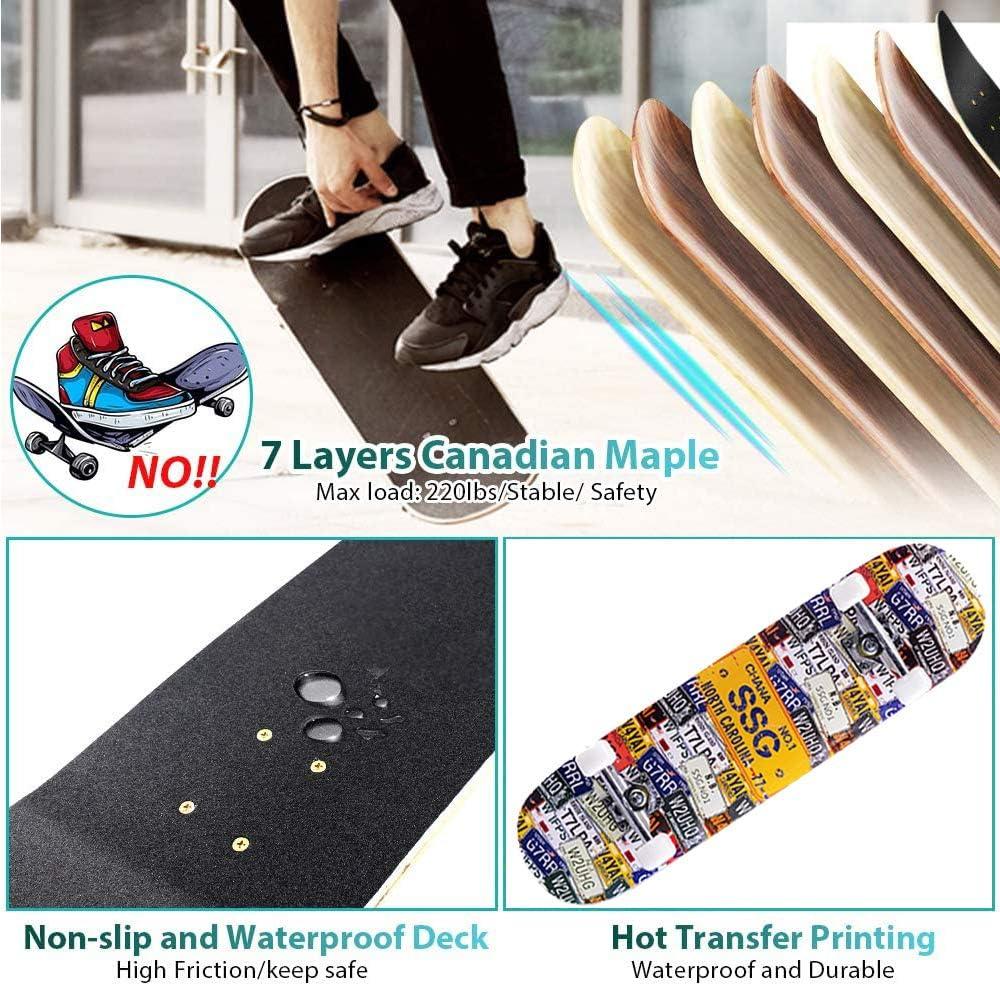78,7 cm x 20,3 cm Skateboard completo per 7 strati di acero Deck Double Kick Deck tavole standard per ragazzi ragazze adolescenti adulti principianti