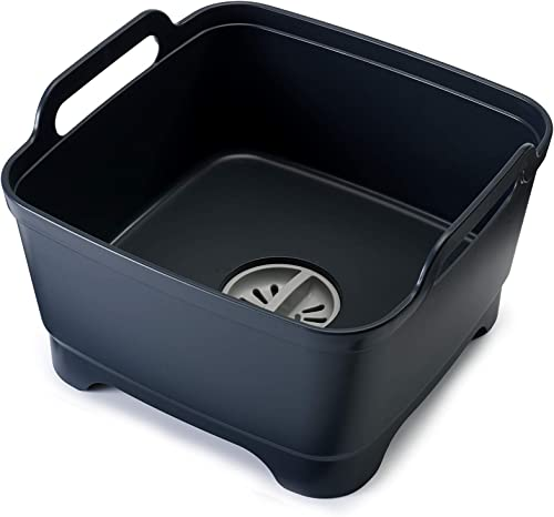 Joseph Joseph 85056 Wash and Drain Dish Tub Plastic Dishpan with Draining Plug Carry Handles for Dishwashing Cleaning...