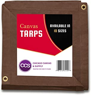 CCS CHICAGO CANVAS & SUPPLY Canvas Tarpaulin, Brown, 8 by 10 Feet (Available in 9 More Sizes)