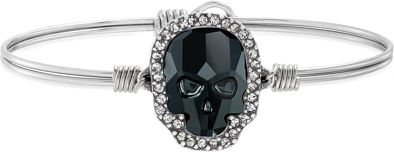 Luca + Danni | Crystal Pave Skull Bangle Bracelet in Jet For Women Made in USA
