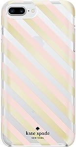 kate spade new york Protective Hardshell Case for iPhone 8 Plus, iPhone 7 Plus & iPhone 6 Plus/6s Plus- Diagonal Stripe Blush/Gold Foil/Clear
