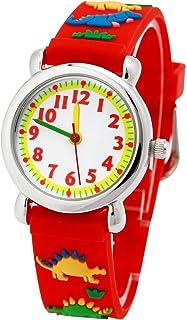 Jian Ya Na Cute 3D Cartoon Digital Silicone Wristwatches Time Teacher Birthday Gifts for Aged 3-8 Girls Boys, girls, 3D Dinosaur-Red