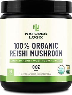 Natures Logix Organic Reishi Powder (8 OZ) - Certified USDA Organic - Organic Reishi Mushroom Powder