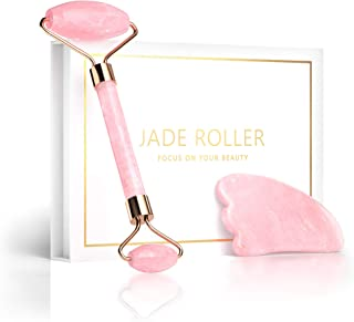 Jade Roller and Gua Sha Set – Rose Quartz Facial Roller Scraping Massager Skin Care Tool