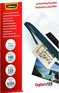 Fellowes Capture 83 x 113 mm 125 Micron Glossy Laminating Pouches (Pack of 100)