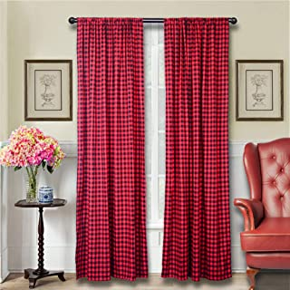 Best red check curtain material Reviews