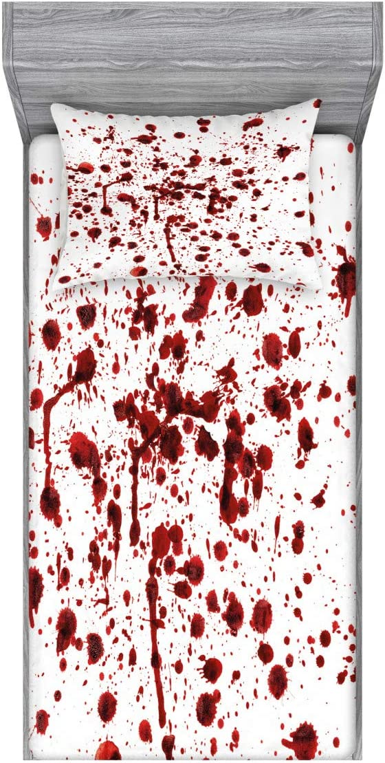 Ambesonne Horror Fitted Sheet & Pillow Sham Set, Splashes of Blood Grunge Style Bloodstain Horror Scary Zombie Halloween Themed Print, Decorative Printed 2 Piece Bedding Decor Set, Twin, Red White
