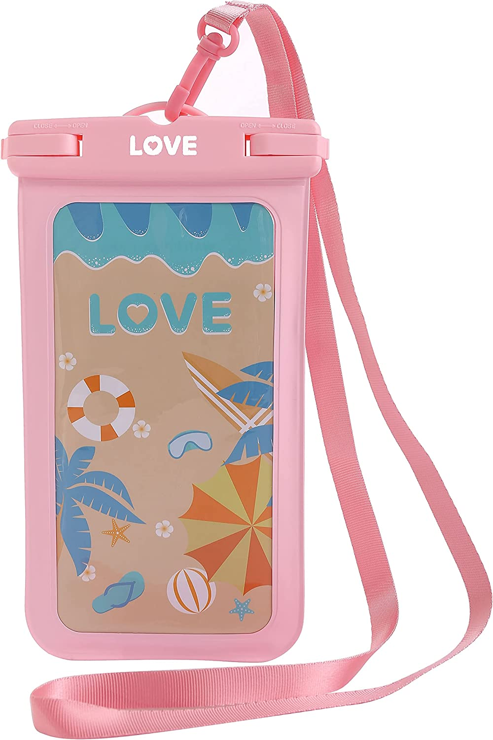 LOVE - Waterproof Phone Pouch, Universal Waterproof Case Underwater Dry Bag IPX8 PVC for iPhone 12 Pro Max XS XR X 8 7 Plus Galaxy Pixel up to 6.9