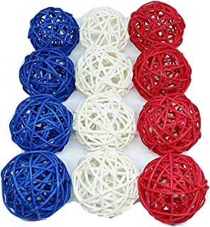 Thailand's Gifts : Small Blue, White, Red Rattan Ball, Wicker Balls, DIY Vase And Bowl Filler Ornament, Decorative Spheres Balls, Perfect For Decoration On Any Occasion 2-2.5 inch, 12 Pcs.
