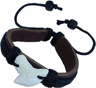 GemShark Real Shark Teeth Bracelet Leather Charm Bangle Jewelry with Vertebra Fish Bone