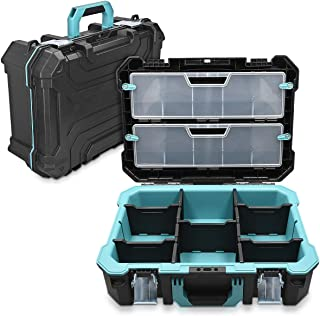"""Navaris Technicians Tool Case 20-1/2"""" Empty - 52.5 x 38.9 x 19 cm - with 2 Steel Latches Many Compartments 2 Organiser Box..."""