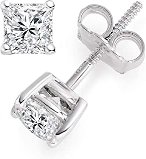 3.0 ct Brilliant Princess Cut Solitaire White Lab Created VVS1 Ideal Sapphire Anniversary gift Stud Earrings Real Solid 14k White Gold Screw Back, ClaraPucci