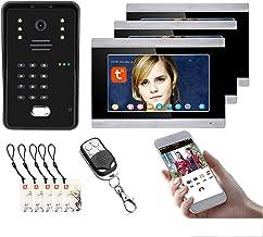 Tuya Wifi Video Deurbel, 7 Inch Video Deurtelefoon Systeem, Intercom, Outdoor Nachtzicht Camera + 3 Monitor, Wachtwoord Re...