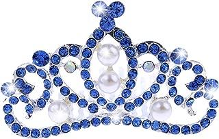 D DOLITY Wedding Birthday Blue Pearls Crystal Mini Crown Princess Hair Comb Jewelry