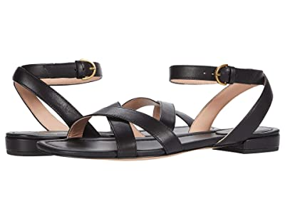 J.Crew Leather Cross Strap Lucy Sandal (Black) Women