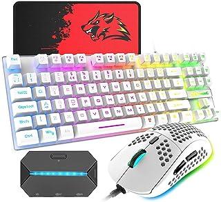 ゲーミングキーボード マウス コンバータ付き 88キー 軽量 LEDバックライト USB接続 エルゴノミック 防水 ゲーマーやタイピストに最適、6400DPIゲーミングマウス マウスパット付き 日本語取扱説明書付き PC PS4 スイッチ対応t...