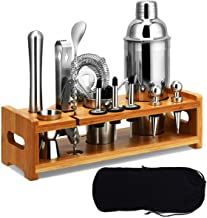 Tangkula 23 PCS Stainless Cocktail Shaker, Cocktail Shaker Set, Stainless Steel Bartender Kit With Sleek Bamboo Stand and ...