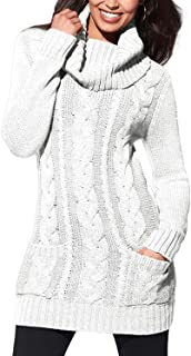Sidefeel Women Asymmetric Buttoned Cable Knit Bodycon Mini Sweater Dress Jumper