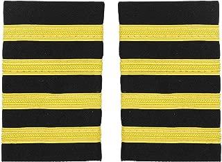 Freebily 1 Pair One/Two/Three/Four Bar Traditional Professional Pilot Uniform Epaulets with Gold Nylon Stripes