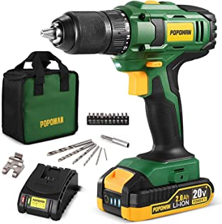 Cordless Drill, 20V MAX 1/2 inch Compact Drill Driver Kit, 2.0Ah Lithium-Ion Battery with Fast Charger, Metal Chuck, 398 I...