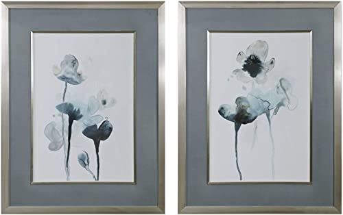 "popular Uttermost outlet online sale Midnight online Blossoms 35"" High 2-Piece Framed Wall Art Print Set sale"