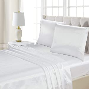 Better Home Style Super Soft Silky Smooth Satin Bed 4 Piece Deep Pocket Sheet Set # Satin (Cal-King, White)