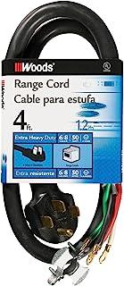 Woods 0761 50-Amp Range Appliance Power Supply Cord 4 ft Black