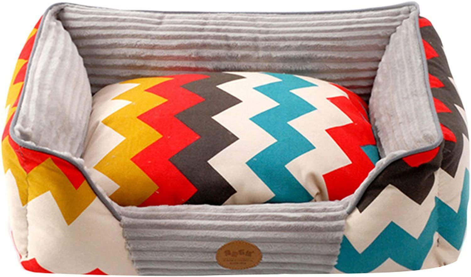 Jelord Multicolor Zigzag Cuddler Pet Bed Pillow Mat, Small, 24x20x7 Inches