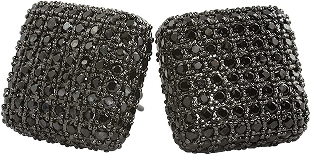 Black XL Rounded Cube 3D Micro Pave Earrings Bling