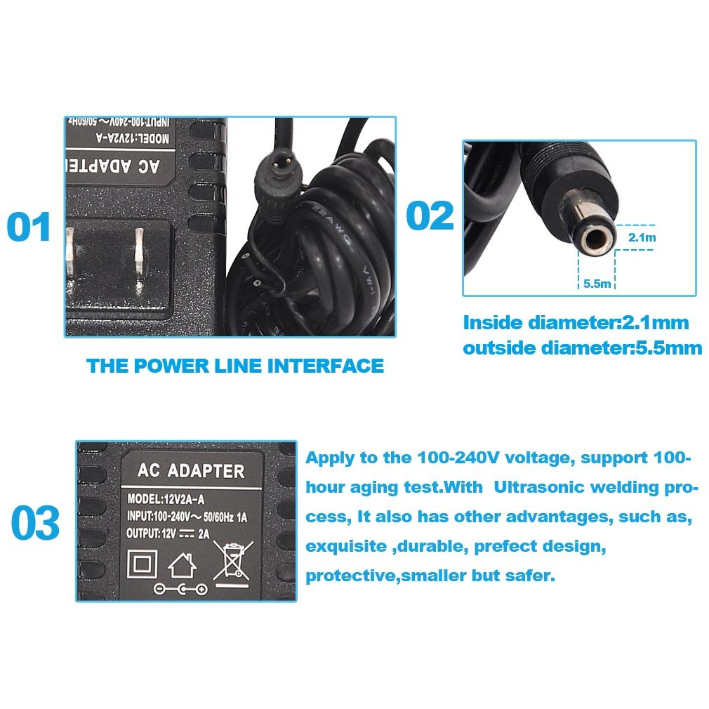 TMEZON 12 Volt 2A Power Adapter Supply AC to DC 2.1mm X 5.5mm Plug 12v 2 Amp Power Supply, Wall Plug Extra Long 8 Foot Cord