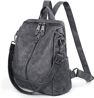 UTO Women Backpack Purse PU Washed Leather Convertible Ladies Rucksack Zipper Pockets Earphone Hole Shoulder Bag Grey