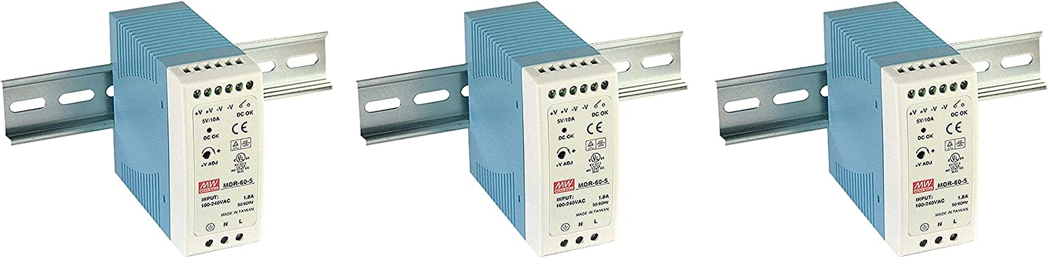 MEAN WELL MDR-60-24 DIN-Rail Power Supply 24V 2.5 Amp 60W (Three Pack)