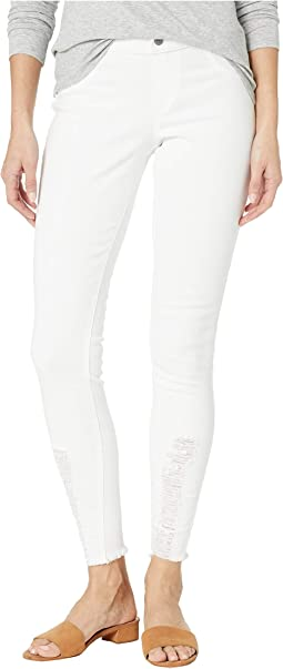 Shredded Hem Denim Leggings