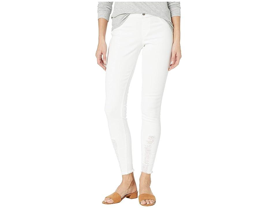HUE Shredded Hem Denim Leggings (White) Women
