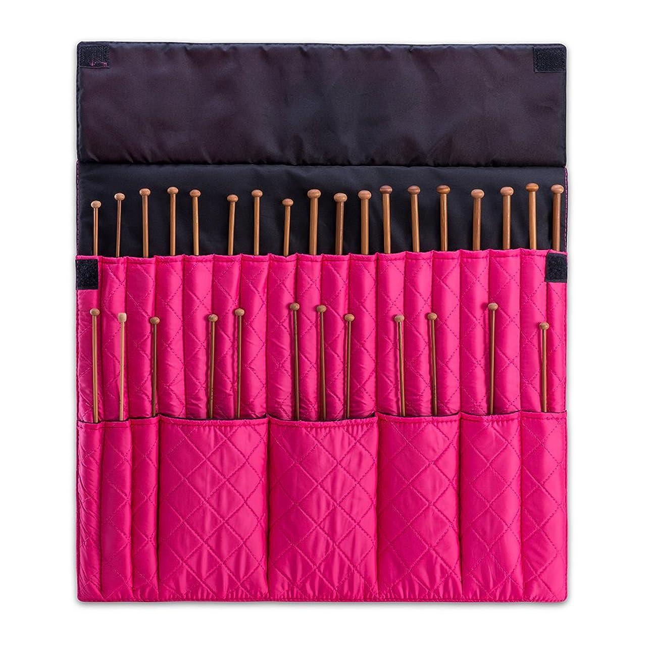 DeNOA Knitting Needle Storage Case - Crochet Hook Folding Organizer Travel Wrap - Bubblegum