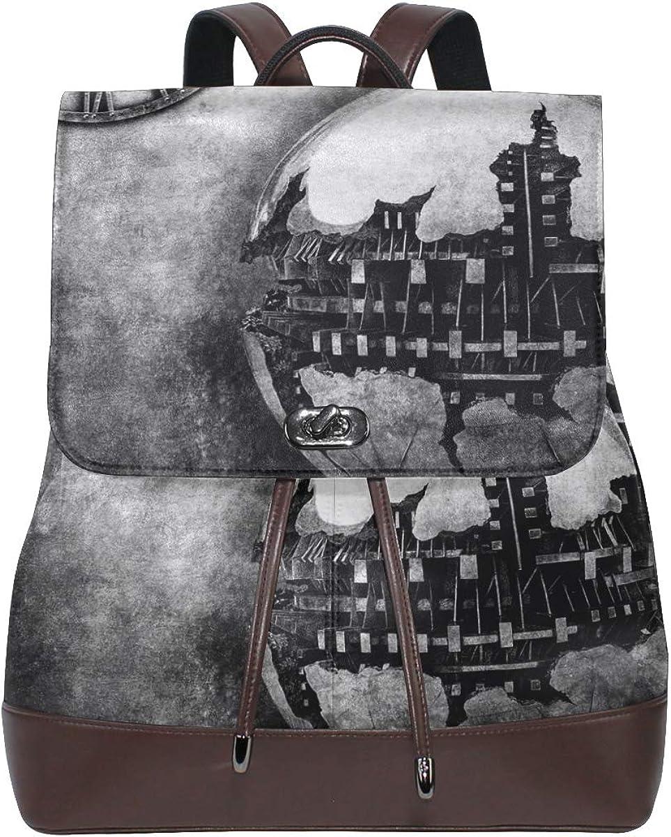 Women PU Leather Max 50% OFF depot Clock Broken Composite Dublin Globe Backpack Pu