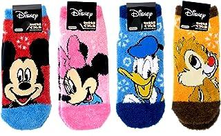 ディズニー レディース もこもこソックス ゆき 4柄セット(ミッキー レッド?ミニー ピンク?チップとデール オレンジ?ドナルド ブルー) 女性用靴下