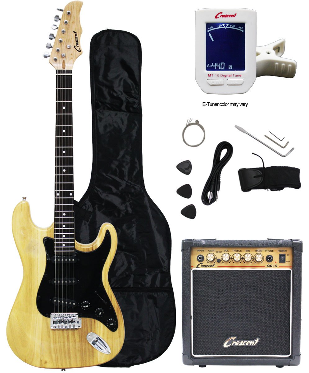 Cheap Crescent Electric Guitar Starter Kit - Natural Color (Includes Amp & Crescents Digital E-Tuner) Black Friday & Cyber Monday 2019