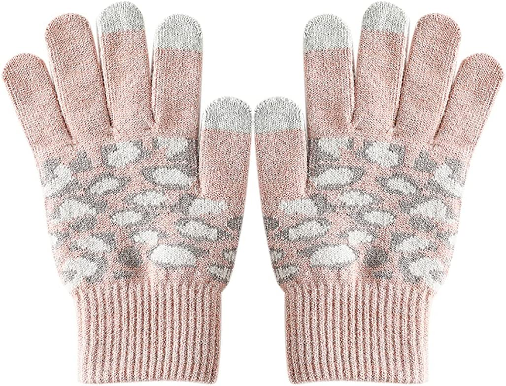 Outgeek Woman Winter Gloves Fashion Leopard Print Coldproof Soft Breathable Thermal Gloves for Work Breathable Classic