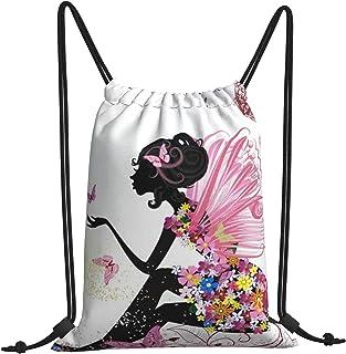 Butterfly Flower Women Drawstring Backpack Kids Gym String Bag Sport Lightweight Yoga Sackpack Men Cinch Sack for Swim School