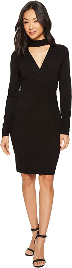 Vince Camuto - Long Sleeve Choker Neck Wrap Front Sweater Dress